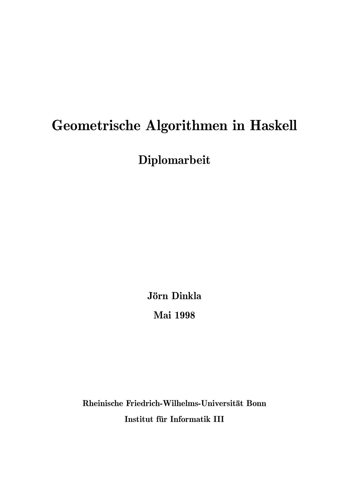 Geometrische Algorithmen in Haskell