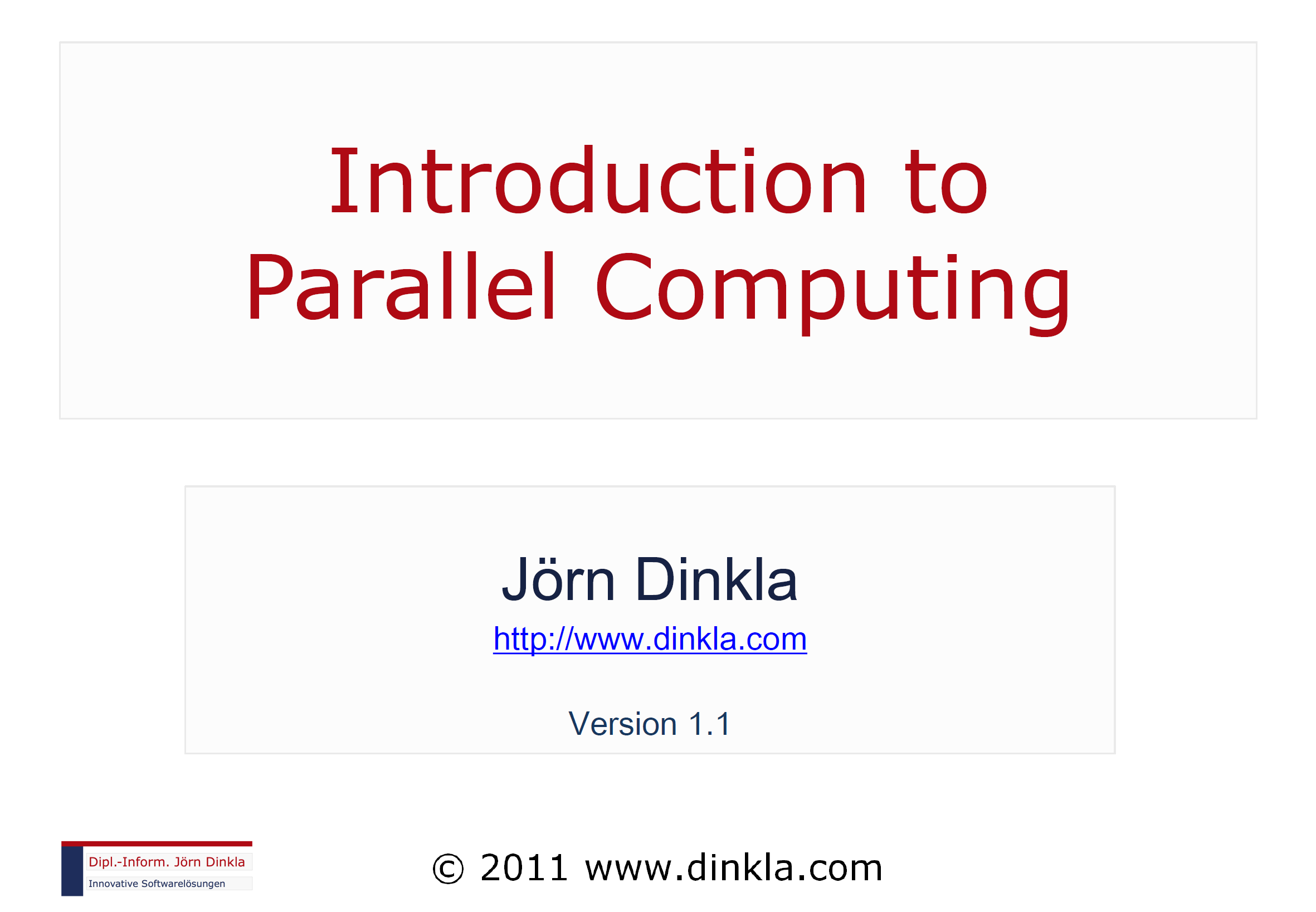 Slides: 'Introduction to Parallel Computing'