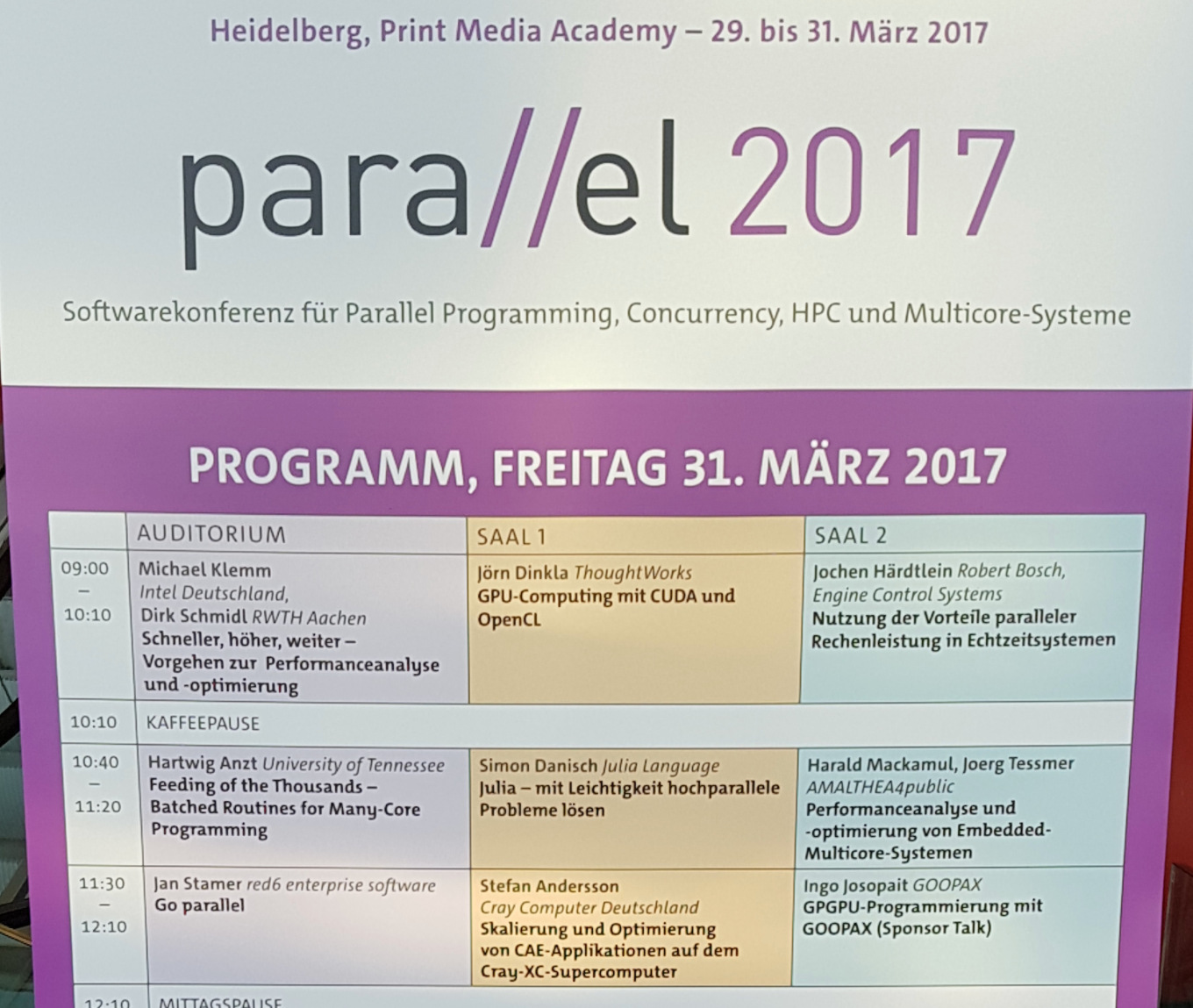 Program of the parallel 2017