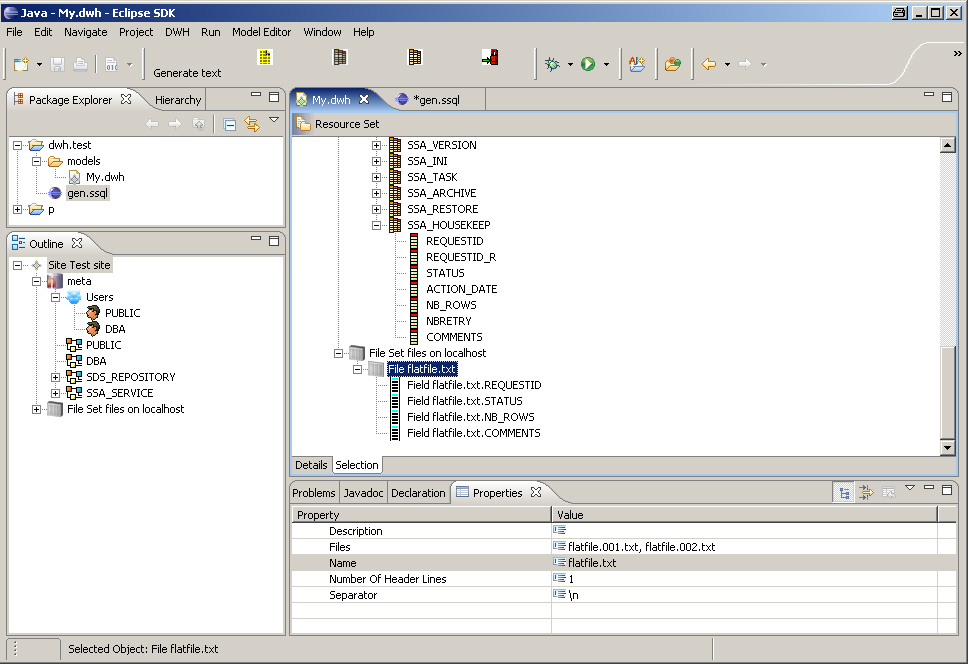 Eclipse-Editor for data warehousing metadata with EMF